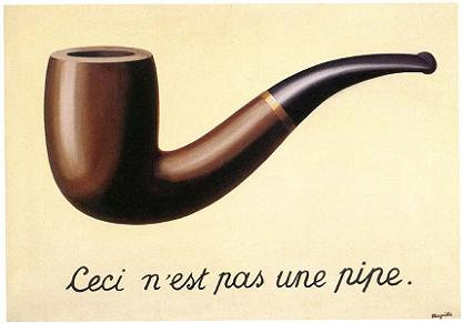 René Magritte (1898-1967).Titre (passablement méconnu) du tableau: LA TRAHISON DES IMAGES, 1929