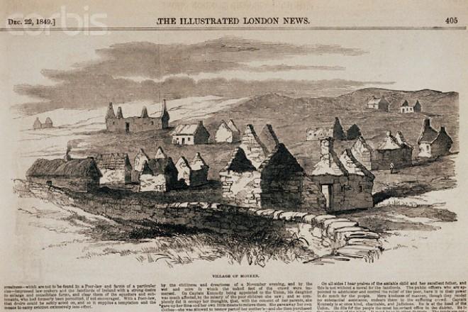 Cette illustration journalistique anglaise montre le village bien oublié de Movern (Irlande), vers 1849. C'est là le genre de paysage dévasté qu'Engels et Burns ont découvert lors de leurs vacances en Irlande, en 1856