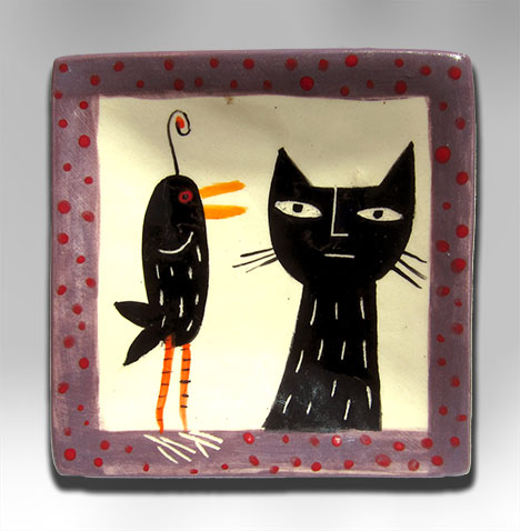 BLACK CAT, BLACK BIRD, céramique de Kathryn Blackmun