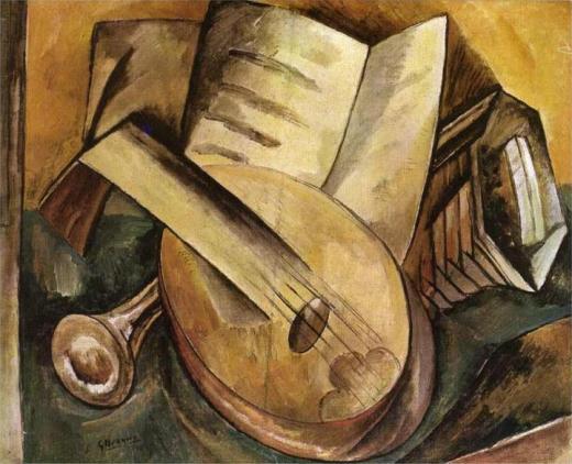 LES INSTRUMENT DE MUSIQUE (1908). Évoquer visuellement la musique par l'évocation des instruments qui la jouent