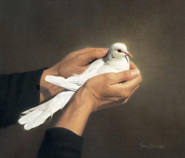 oiseau dans les mains