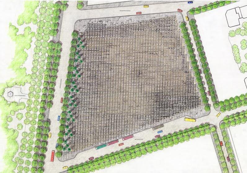 La totalité du Mémorial de l'Holocauste couvre 19,000 mètres carrés (4.7 acres)