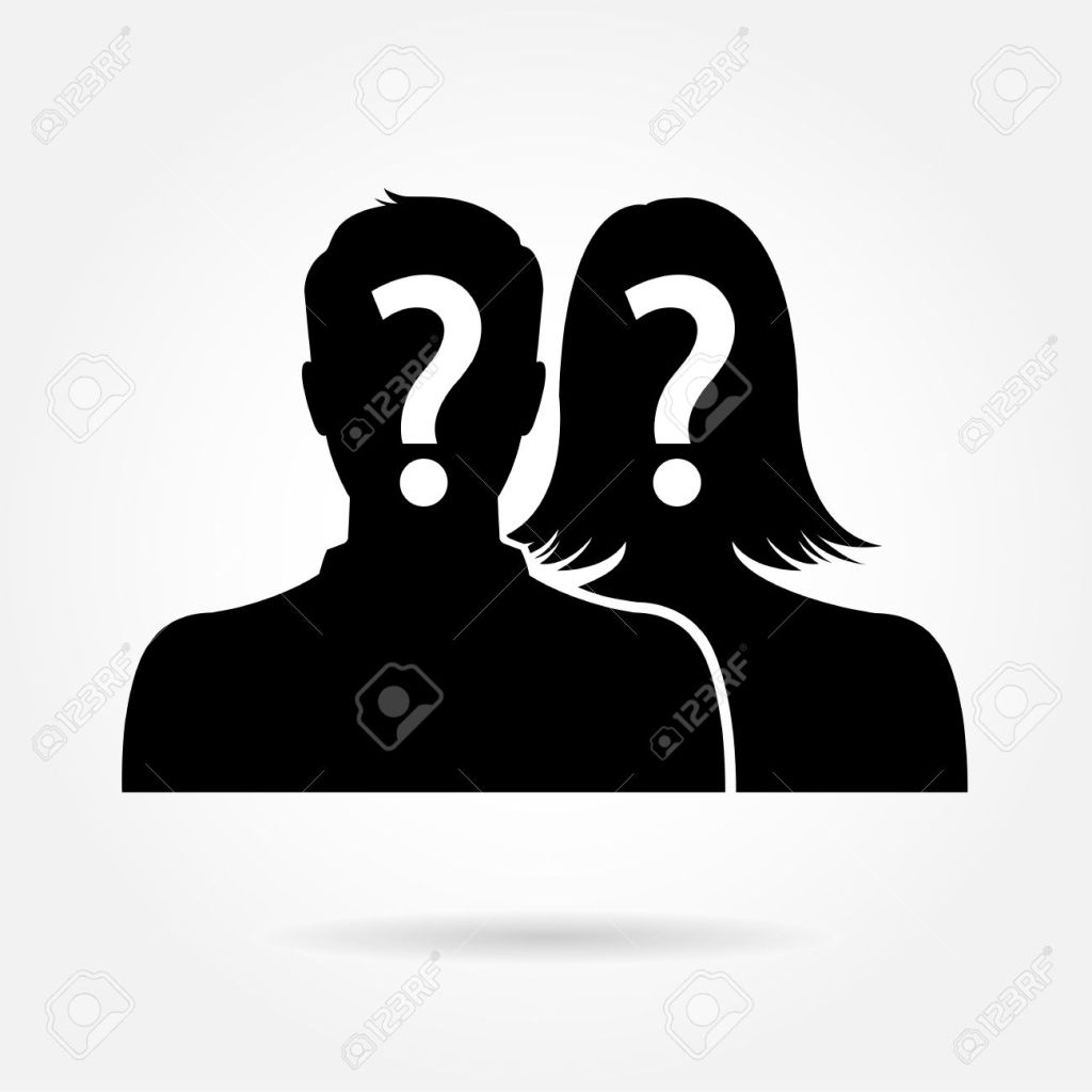 Male & female silhouette icon - couple & partner concept