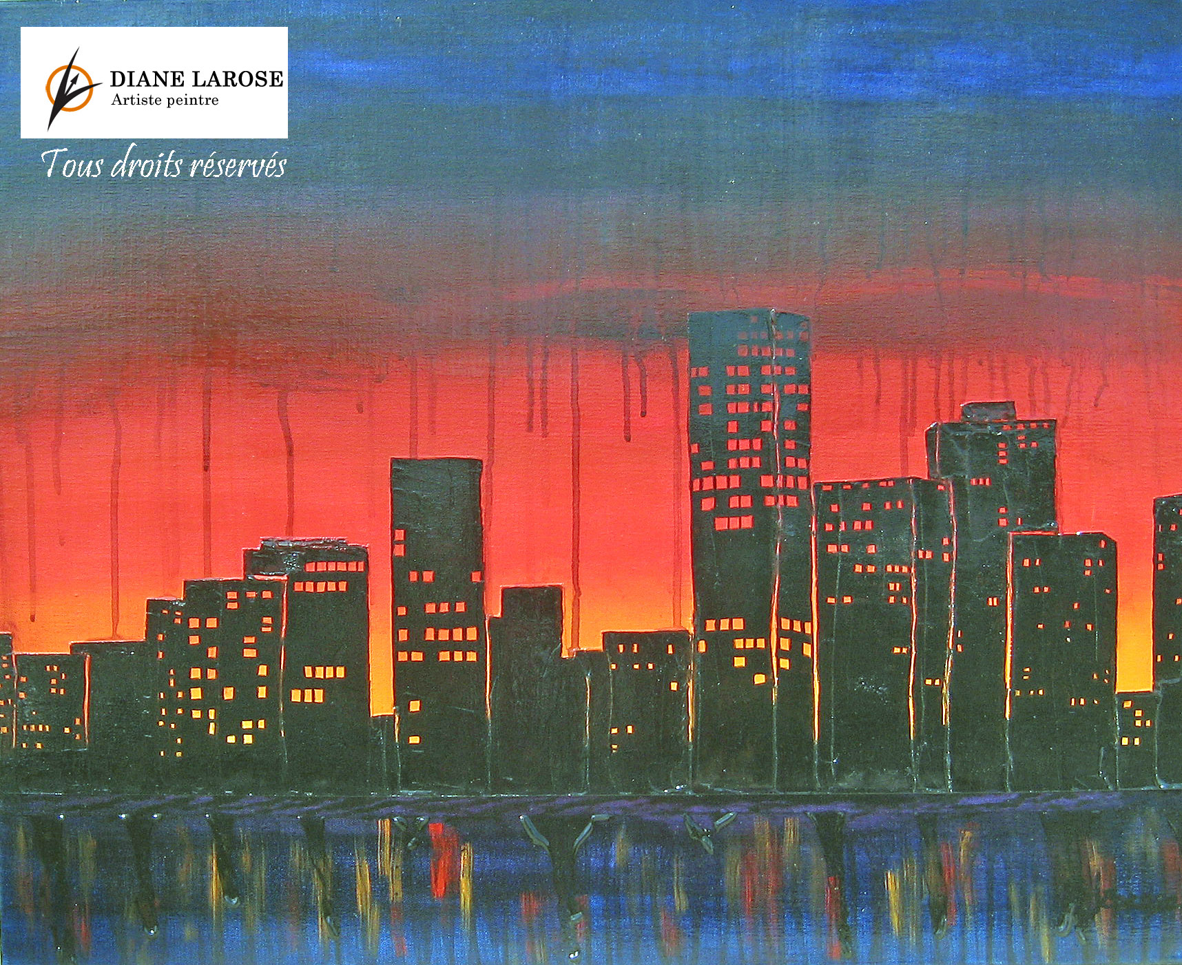 Diane Larose. PLUIES ACIDES (2013). Acrylique sur toile. Dimension sans cadre: 30'' X 24''