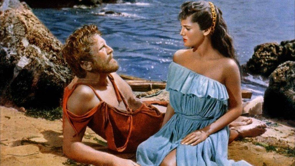 Ulysse (Kirk Douglas), fort opinément amnésique, en compagnie de Nausicaa (Rossana Podestà)